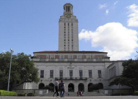People walk at the University of Texas campus in Austin