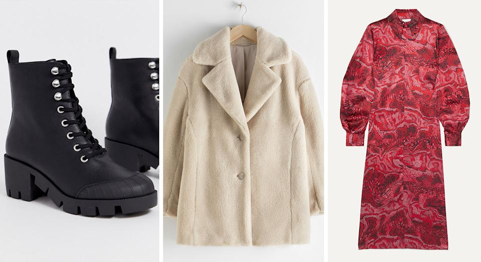 Black Chunky Lace Up Boots from ASOS (Now £12), Faux Fur Wool Blend Jacket from & Other Stories (Now £54), Ganni Printed Stretch-Silk Satin Midi Dress from Net-A-Porter (Now £148).
