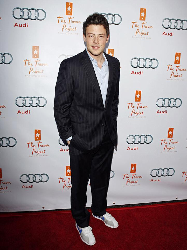 """Glee's"" Cory Monteith made the mistake of pairing dorky sneakers with his pinstriped suit. Jean Baptiste Lacroix/<a href=""http://www.wireimage.com"" target=""new"">WireImage.com</a> - December 6, 2009"