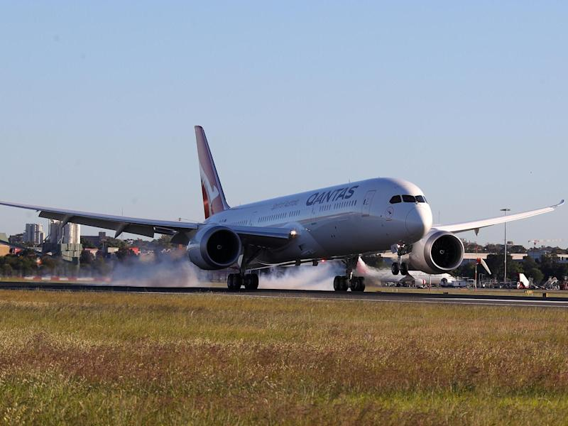 The Qantas Boeing 787 Dreamliner plane arrives at Sydney International Airport after flying direct from New York: Getty