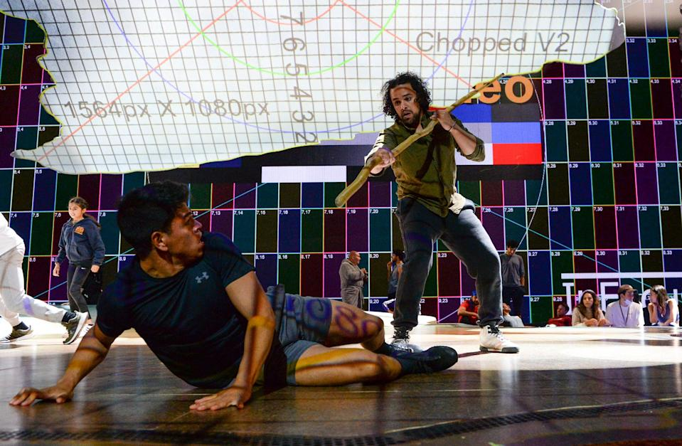 Luke Brady rehearses a fight during rehearsals for The Prince Of Egypt at Dominion Theatre (Getty Images)