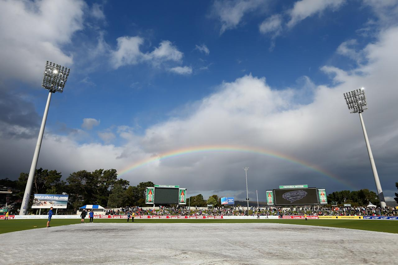 HOBART, AUSTRALIA - JANUARY 01: A rainbow is seen prior to the Big Bash League match between the Hobart Hurricanes and the Perth Scorchers at Blundstone Arena on January 1, 2013 in Hobart, Australia.  (Photo by Robert Cianflone/Getty Images)