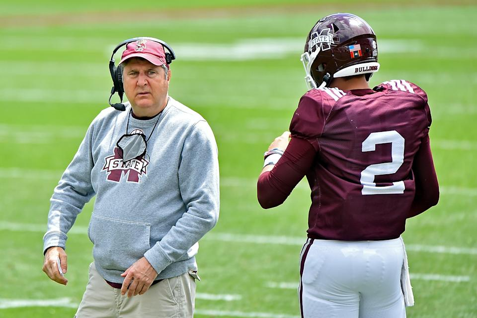 STARKVILLE, MISSISSIPPI - APRIL 17: Head coach Mike Leach of the Mississippi State Bulldogs and quarterback Will Rogers #2 speak during the first half of the Maroon and White spring game at Davis Wade Stadium on April 17, 2021 in Starkville, Mississippi. (Photo by Justin Ford/Getty Images)