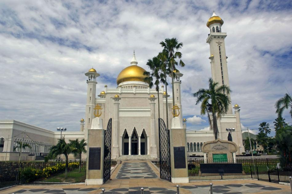 Brunei is located on the north coast of the island of Borneo, in Southeast Asia. Masjid Omar 'Ali Saifuddien Mosque, in Brunei