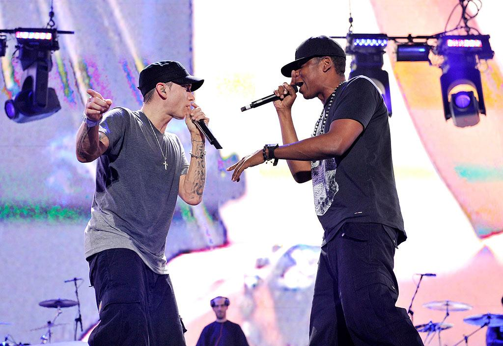 "Eminem and Jay-Z kicked off their ""Home and Home"" concert tour at Detroit's Comerica Park on Thursday night. The duo will perform only four shows -- two in Motown (September 2 and 3) and two in NYC (September 13 and 14). Kevin Mazur/<a href=""http://www.wireimage.com"" target=""new"">WireImage.com</a> - September 2, 2010"