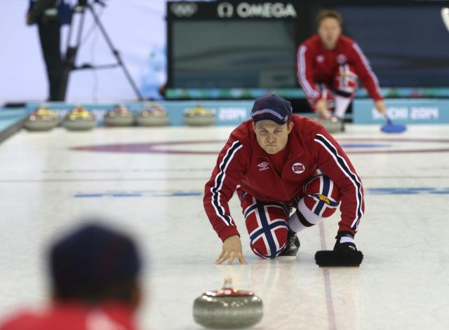 Norway's men's curling team second Christoffer Svae attends a training session in the Ice Cube Curling Center in Sochi February 9, 2014. REUTERS/Ints Kalnins (RUSSIA - Tags: SPORT OLYMPICS CURLING)
