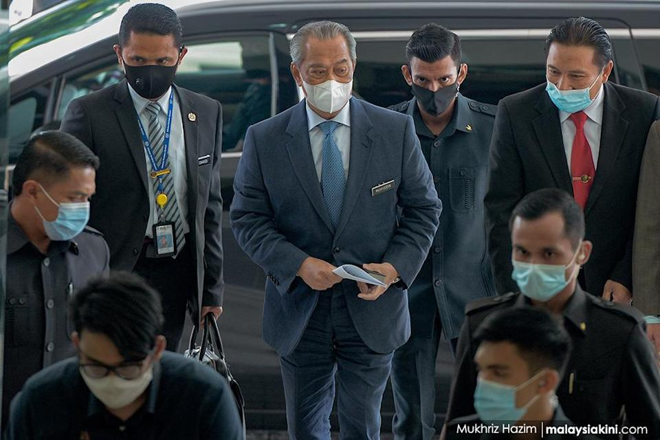 Prime Minister Muhyiddin Yassin, who attempted to cultivate a paternal persona during the MCO, seen here arriving for a political meeting on Sept 1, 2020. <p><br></p>