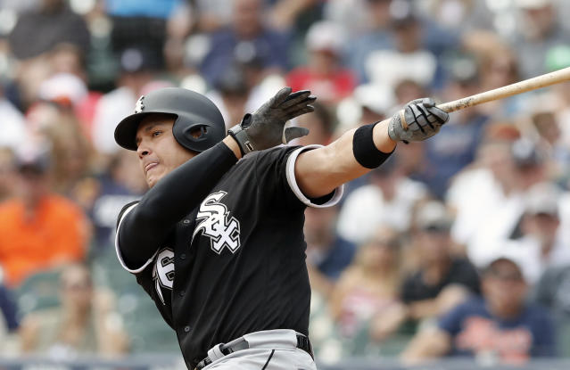 FILE - In this Sunday, Aug. 26, 2018, file photo, Chicago White Sox's Avisail Garcia bats during the first inning of a baseball game against the Detroit Tigers in Detroit. Avisail Garcia can earn up to $6 million as part of his one-year contract with the Tampa Bay Rays. He is guaranteed $3.5 million this season and can earn $2.5 million based on plate appearances. Garcia, coming off arthroscopic surgery on his right knee. He hit a career-high 19 home runs last season but slumped to .236 with 49 RBIs in 93 games. He hit a career-best .330 with 18 homers and 80 RBIs in 136 games in 2017, when he was an All-Star. (AP Photo/Carlos Osorio, File)