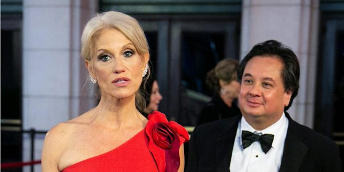 White House Counselor Kellyanne Conway and her husband George Conway arrive for a candlelight dinner at Union Station on the eve of the 58th presidential inauguration in D.C. on January 19, 2017.