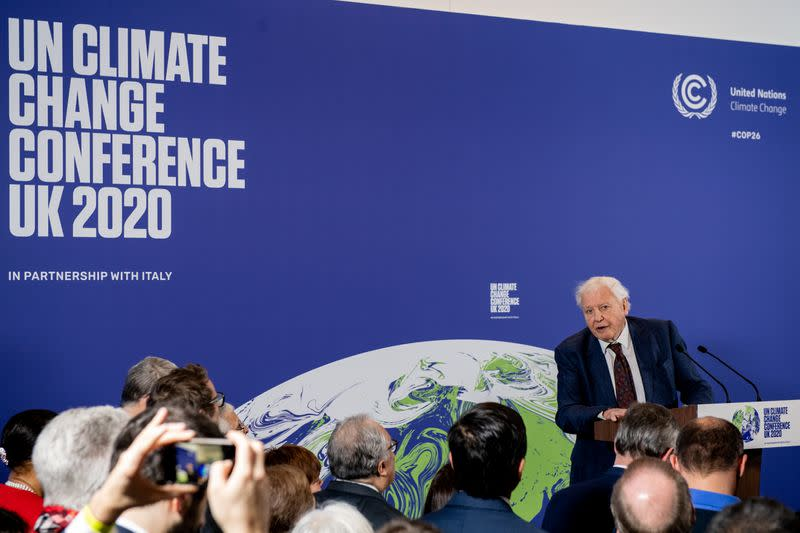 David Attenborough speaks during a conference about the UK-hosted COP26 UN Climate Summit, at the Science Museum in London