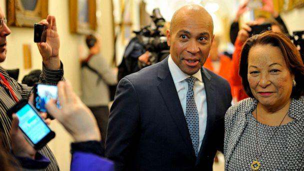 PHOTO: Deval Patrick is shown with his wife, Diane, on his way to officially enter the US Presidential race by signing paperwork to join the New Hampshire primary ballot, at the New Hampshire State House on Nov. 14, 2019, in Concord, N.H. (Joseph Prezioso/AFP via Getty Images, FILE)