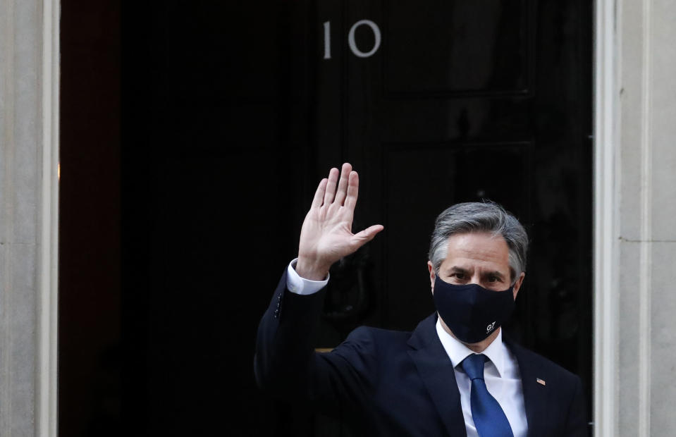 US Secretary of State Antony Blinken leaves after a meeting with Britain's Prime Minister Boris Johnson at 10 Downing Street in London, Tuesday, May 4, 2021. Foreign ministers from the Group of Seven wealthy industrialized nations gathered in London to grapple with threats to health, prosperity and democracy. It is their first face-to-face meeting in more than two years. (AP Photo/Frank Augstein)