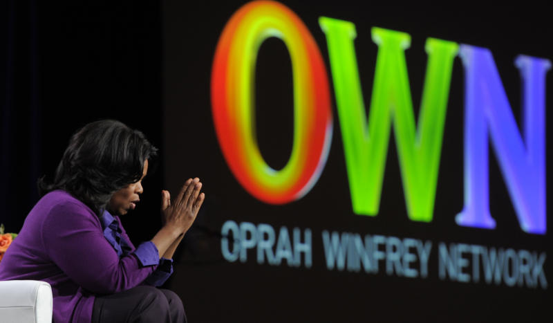 Oprah Winfrey, chairman of Oprah Winfrey Network, makes a point to reporters during a Q&A session at the Discovery Communications Television Critics Association winter press tour in Pasadena, Calif., Thursday, Jan. 6, 2011. (AP Photo/Chris Pizzello)