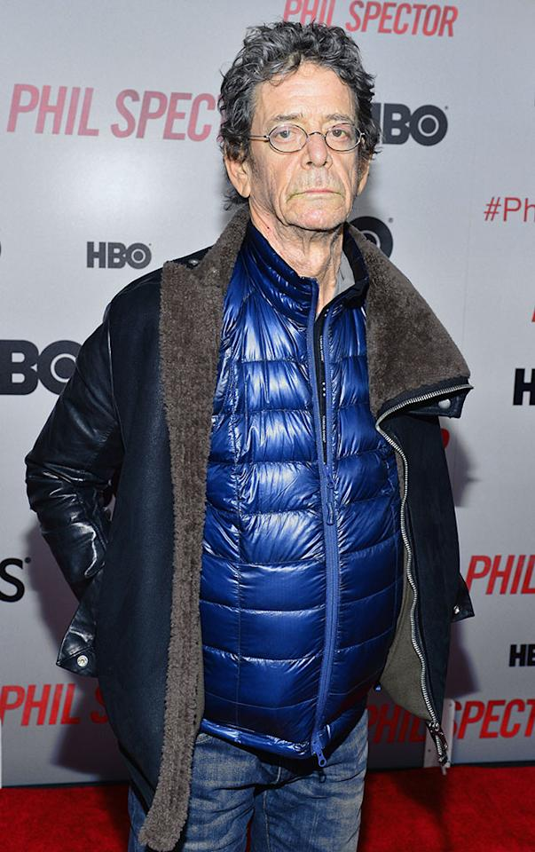"Lou Reed attends the ""Phil Spector"" premiere at the Time Warner Center on March 13, 2013 in New York City."