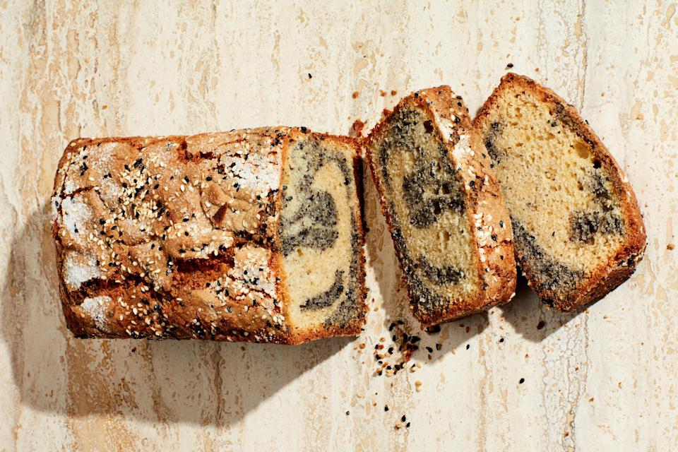 "Stir a small amount of ground black sesame seeds into half the prepared tahini-accented batter for this loaf cake, then swirl the two halves together for a dessert with flashy looks and singular flavor. <a href=""https://www.epicurious.com/recipes/food/views/swirled-sesame-tea-cake?mbid=synd_yahoo_rss"" rel=""nofollow noopener"" target=""_blank"" data-ylk=""slk:See recipe."" class=""link rapid-noclick-resp"">See recipe.</a>"