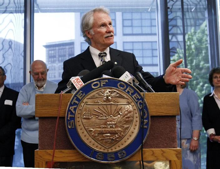 FILE - In this May 4, 2012 file photo, Oregon Gov. John Kitzhaber speaks during a news conference in Portland, Ore. With all the problems facing the rollout of President Barack Obama's health care overhaul, nowhere is the situation worse or more surprising than in Oregon, a progressive state that has enthusiastically embraced the federal law but has so far failed to enroll a single person in coverage through the state's insurance exchange. (AP Photo/Don Ryan, File)