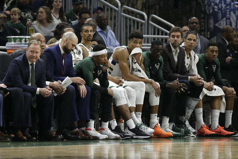 The Bucks are still the favorites to win the Eastern Conference.  (AP Photo / Aaron Gash)