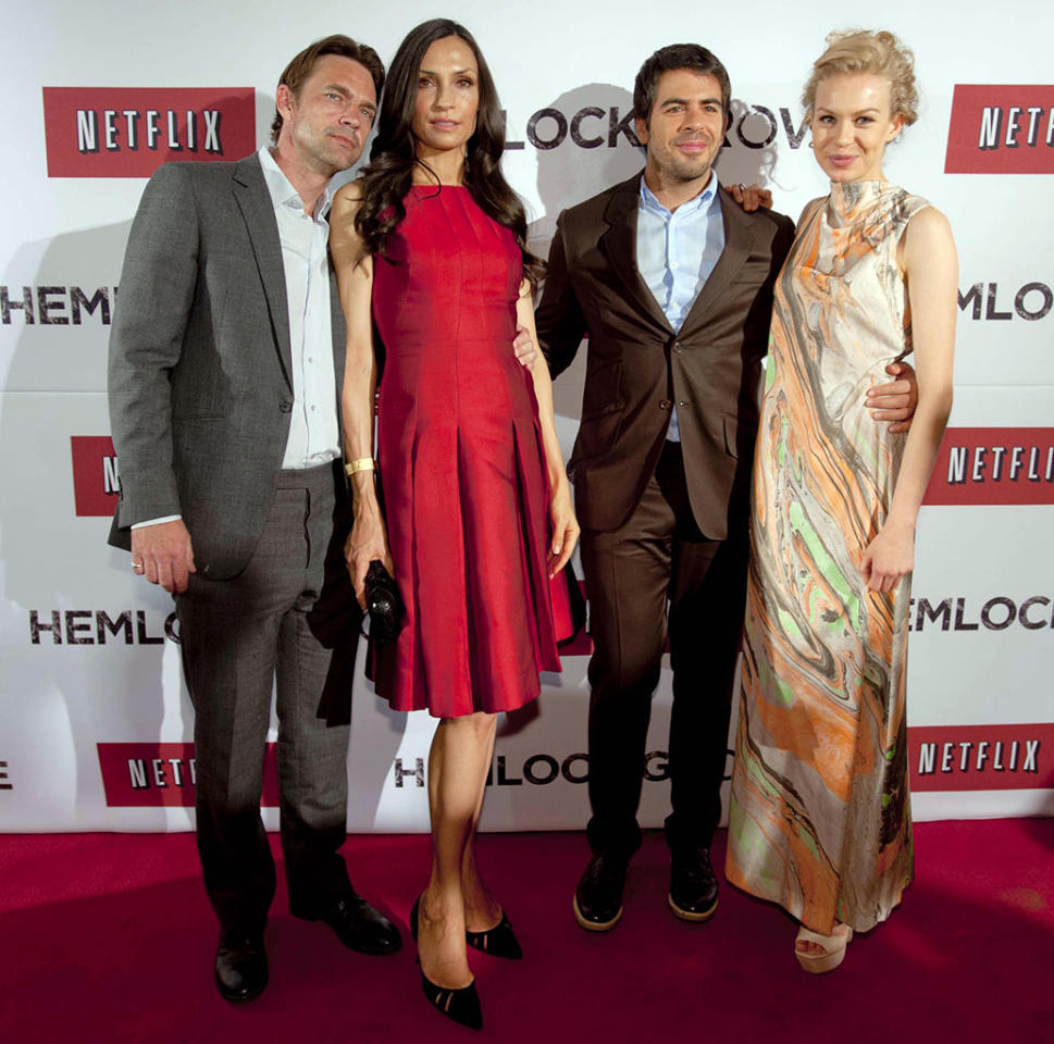"Dougray Scott, Famke Janssen, Eli Roth and Penelope Mitchell attend the ""Hemlock Grove"" Mexico City premiere on April 3, 2013."