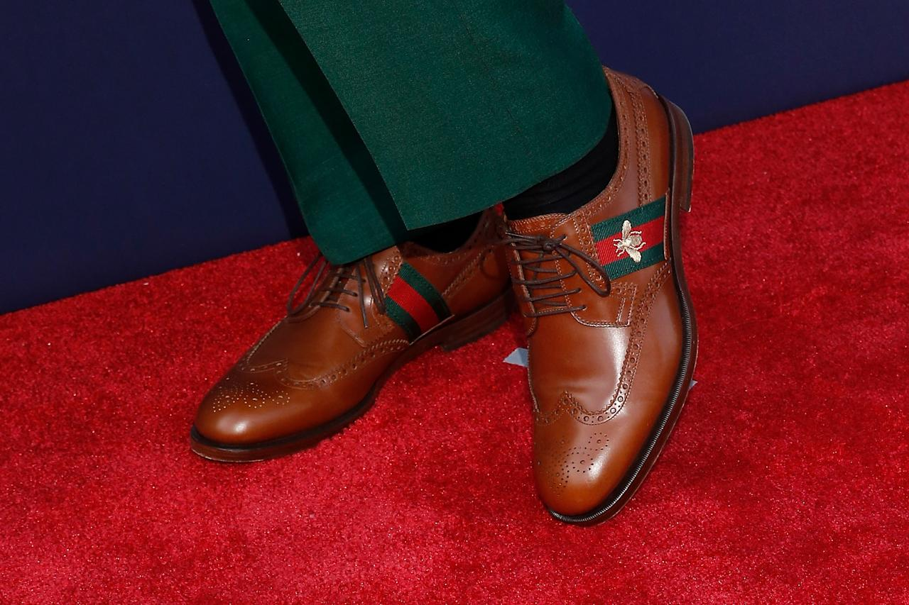 <p>A detail of the shoes of Lamar Jackson of Louisville on the red carpet prior to the start of the 2018 NFL Draft at AT&T Stadium on April 26, 2018 in Arlington, Texas. (Photo by Tim Warner/Getty Images) </p>