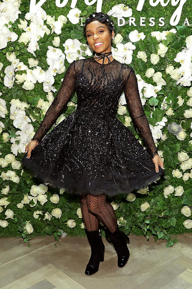 """<p>The singer and actress was feeling fun and flirty at Lord & Taylor's """"Dress Address"""" event, thanks to this sparkling black Zuhair Murad number. Janelle put her unique style stamp on the look by adding black booties, sparkling hair accessories,and a choker. (Photo: Cindy Ord/Getty Images for Lord & Taylor) </p>"""