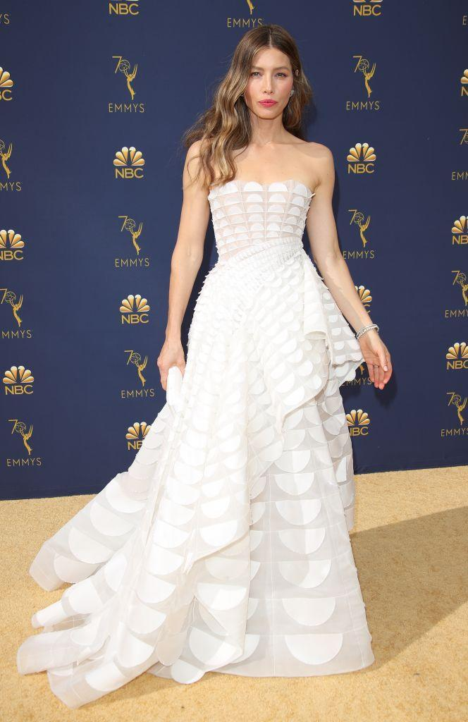 <p>Jessica Biel wore a cold-shoulder Ralph and Russo dress finished with a red lip for the awards ceremony. <em>[Photo: Getty]</em> </p>