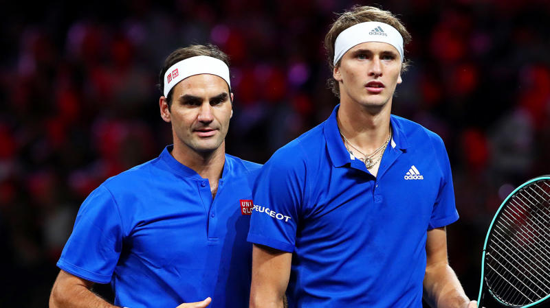 Roger Federer and Alexander Zverev playing doubles for Team Europe.