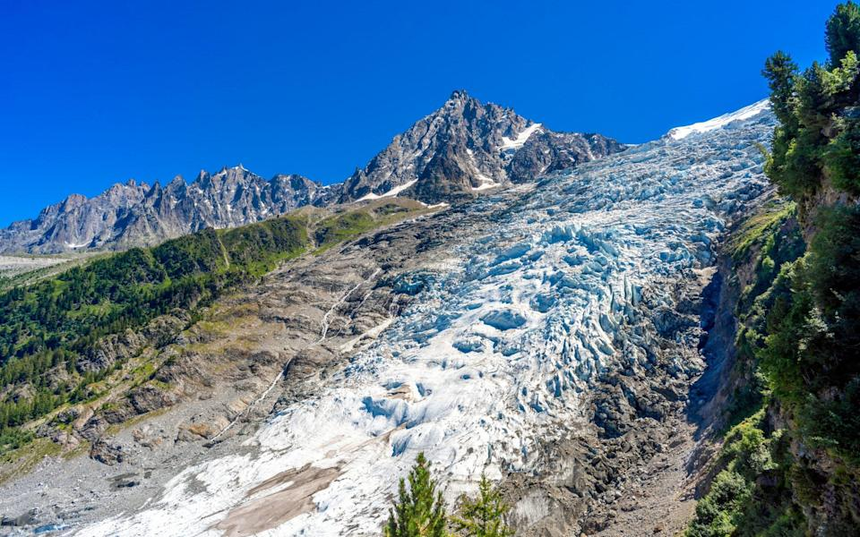 Chamonix's Bosson Glacier has retreated dramatically in recent years - Getty
