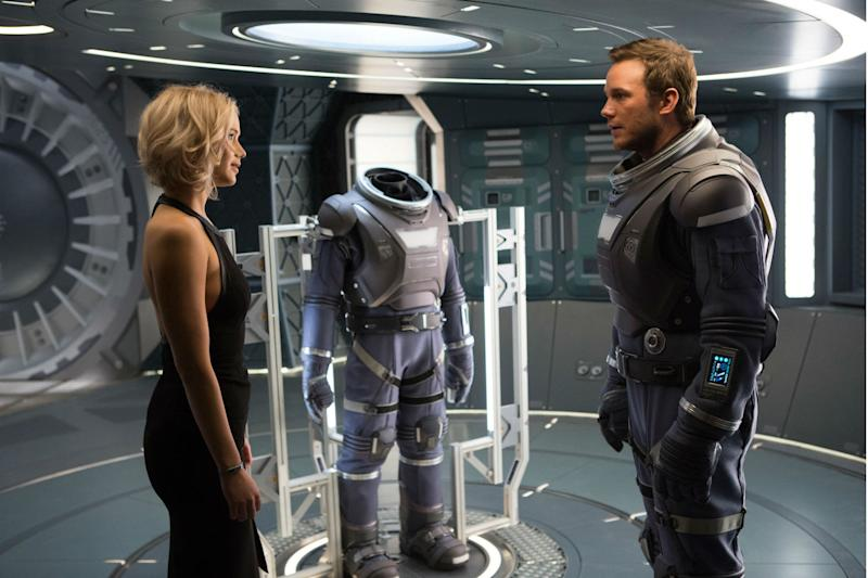 Jennifer Lawrence goes for a free-floating, frightening swim in 'Passengers' clip