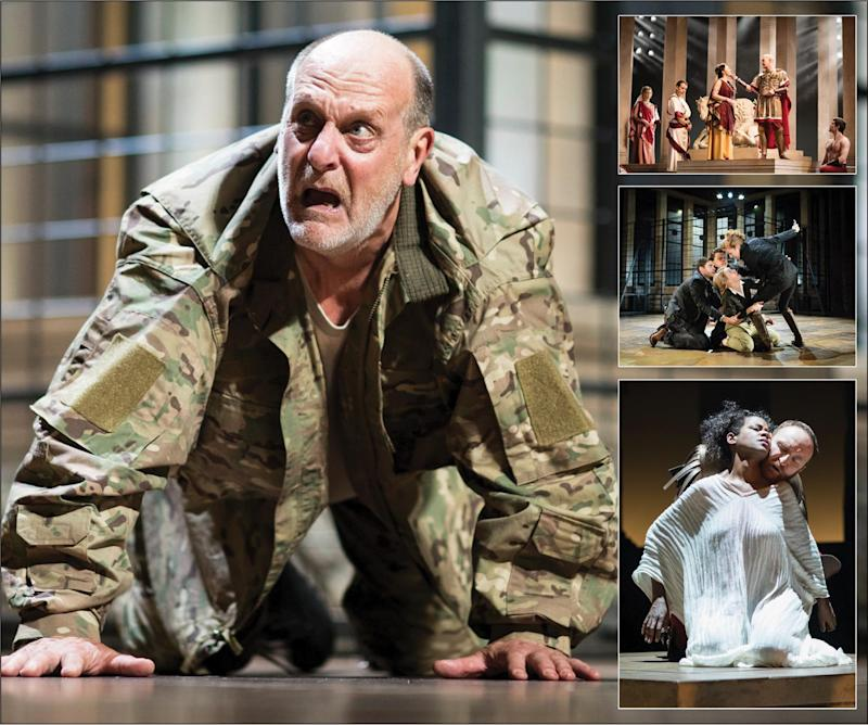 Main image: David Troughton as Titus Andronicus. Inset images: RSC's ROME MMXVII Season acting company: Helen Maybanks