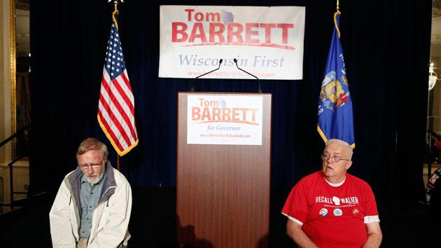 Supporters of Democratic candidate Tom Barrett wait at his election night party Tuesday, June 5, 2012, in Milwaukee. Barrett lost to Republican Wisconsin Gov. Scott Walker in a recall election. (AP Photo/Jeffrey Phelps)