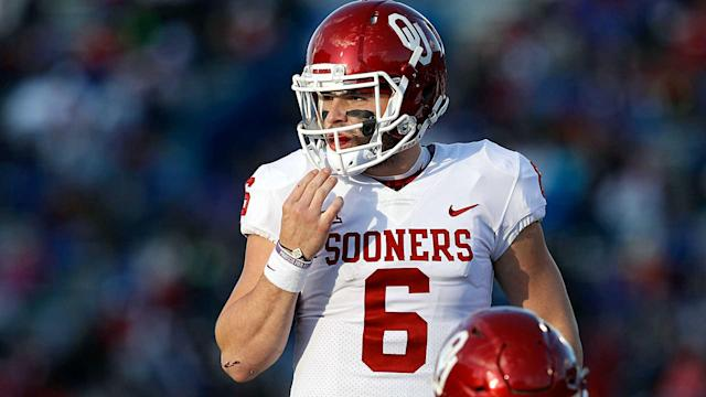 Baker Mayfield's antics at Kansas were harmless, but viewer discretion is advised as the Sooners continue their College Football Playoff push. (Getty)