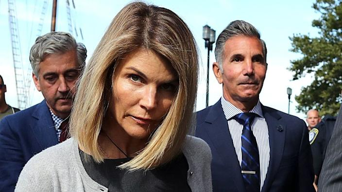 Lori Loughlin and her husband Mossimo Giannulli, right, admitted being part of the scheme