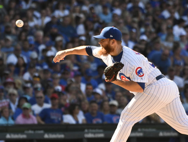 Chicago Cubs relief pitcher Craig Kimbrel (24) throws the ball against the Milwaukee Brewers during the ninth inning of a baseball game, Saturday, Aug. 3, 2019, in Chicago. (AP Photo/David Banks)