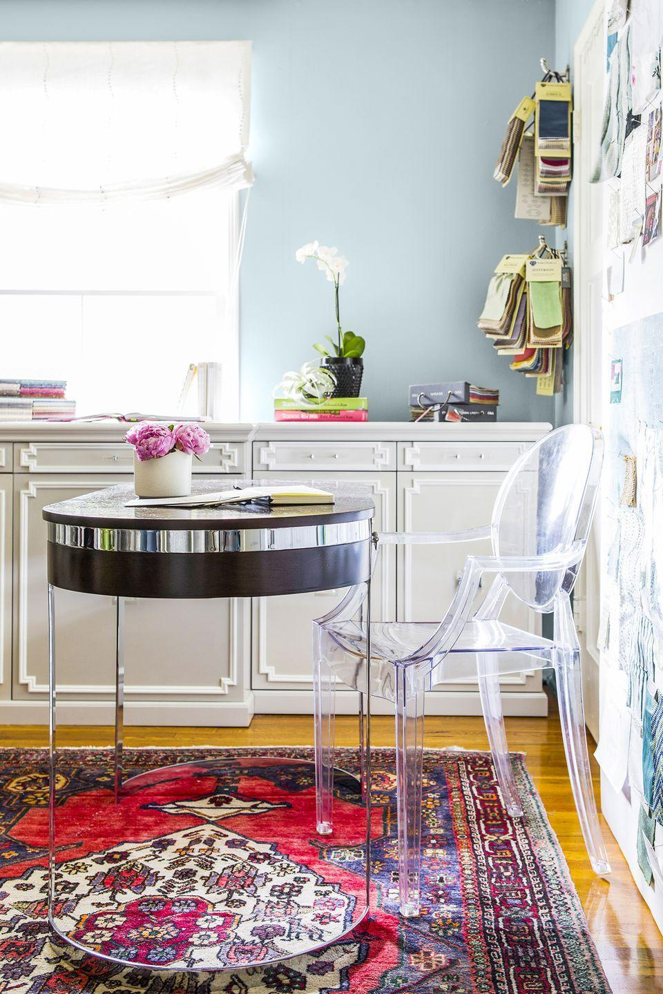 """<p>Timeless design aside, this clear acrylic chair, commonly called the """"ghost chair,"""" is a modern-day design that opens up even the smallest spaces (and looks ultra-chic while doing so). </p>"""
