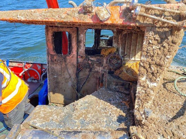 A view inside the wreck of sunken fishing vessel Nicola Faith