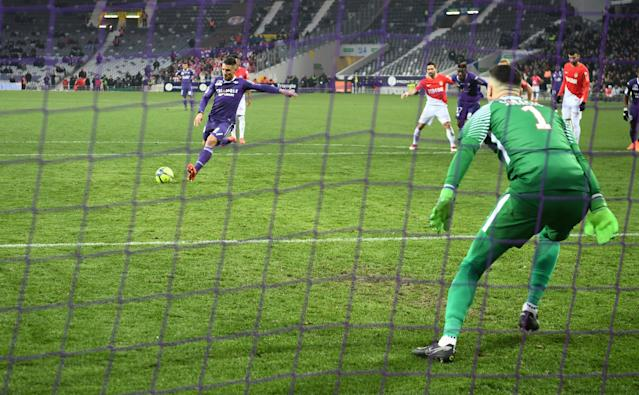 Soccer Football - Ligue 1 - Toulouse vs AS Monaco - Stadium Municipal de Toulouse, Toulouse, France - February 24, 2018 Toulouse's Andy Delort scores their second goal from the penalty spot REUTERS/Fred Lancelot