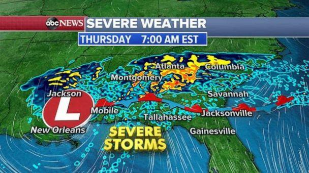PHOTO: More severe weather is in the forecast for the South today, with tornadoes, damaging winds and hail all possible Thursday. (ABC News)