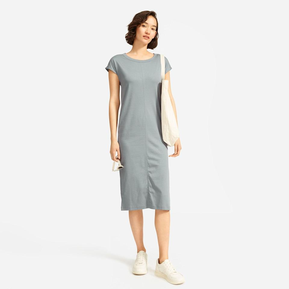 """<p><strong>Everlane</strong></p><p>everlane.com</p><p><strong>$50.00</strong></p><p><a href=""""https://go.redirectingat.com?id=74968X1596630&url=https%3A%2F%2Fwww.everlane.com%2Fproducts%2Fwomens-luxe-ctn-side-slit-tee-dress-fadedsage&sref=https%3A%2F%2Fwww.oprahmag.com%2Fstyle%2Fg25858020%2Fcute-spring-dresses%2F"""" rel=""""nofollow noopener"""" target=""""_blank"""" data-ylk=""""slk:SHOP NOW"""" class=""""link rapid-noclick-resp"""">SHOP NOW</a></p><p>Whether you're still WFH or want something relaxed to run around in, this smooth cotton t-shirt dress will get you through those warm weather days. </p>"""