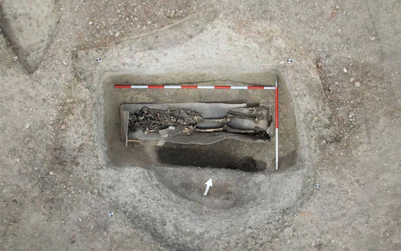 Another skeleton in a coffin lined in lead - HS2/PA