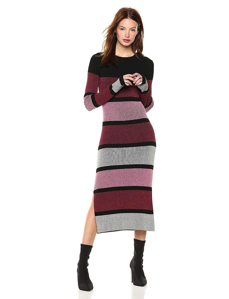 <p>Style this <span>Cable Stitch Stripe Ribbed Dress</span> ($70) with sock booties.</p>