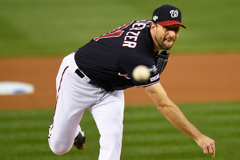 Washington Nationals starting pitcher Max Scherzer throws against the Los Angels Dodgers during the first inning in Game 4 of a baseball National League Division Series, Monday, Oct. 7, 2019, in Washington. (AP Photo/Susan Walsh)