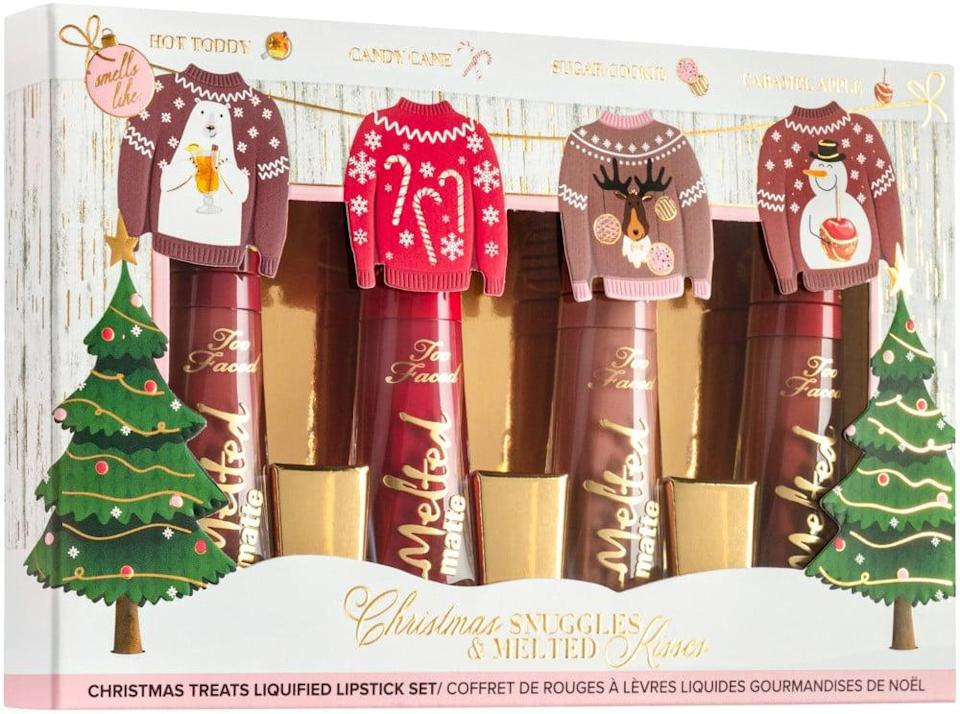 <p>This <span>Too Faced Christmas Snuggles and Melted Kisses Liquid-Lipstick Set</span> ($25) comes with four pretty shades.</p>