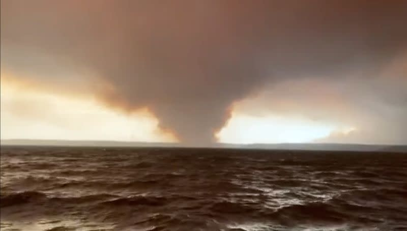 Smoke from the Currowan Fire is pictured from St George's Basin south of Nowra and looking towards Sussex Inlet and Lake Conjola, Australia