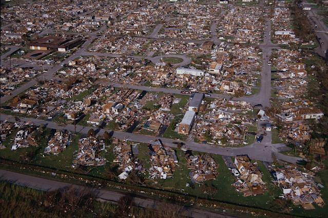 <p>Homes were reduced to piles of rubble following Hurricane Andrew. (Steve Starr/CORBIS/Corbis via Getty Images) </p>