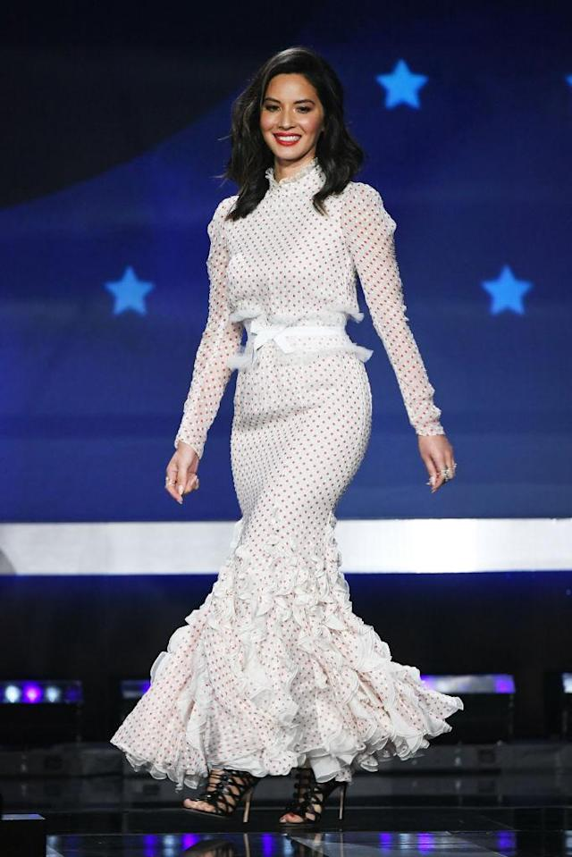 Munn's second look incorporated red polka dots and lots of frills. (Photo: Getty Images)