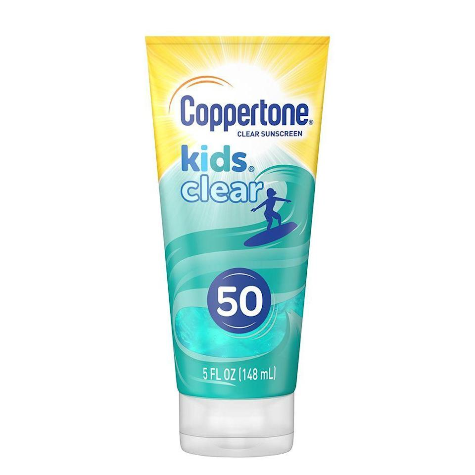 """<p><strong>Coppertone</strong></p><p>amazon.com</p><p><strong>$7.23</strong></p><p><a href=""""https://www.amazon.com/dp/B084ZHP45Y?tag=syn-yahoo-20&ascsubtag=%5Bartid%7C2089.g.35913739%5Bsrc%7Cyahoo-us"""" rel=""""nofollow noopener"""" target=""""_blank"""" data-ylk=""""slk:Shop Now"""" class=""""link rapid-noclick-resp"""">Shop Now</a></p><p>Getting your big kids to actually apply sunscreen will be a whole lot easier with this blueberry-scented formula. Designed to appease your kid's love of bright colors and your need for a high-performance sunscreen, this is a perfect middle ground. The cool blue jelly-like sunscreen squirts out blue, but rubs on totally clear which is a win for my brown-skinned boy. </p><p>This was Miles' favorite out of the bunch. He is big on scents and was instantly in love with the fruity smell. He was drawn to the iridescent shimmer and even reminded me that he needed to apply his sunscreen before heading to the park. </p><p>I love the jelly-like texture. It has a cooling formula that feels almost like an aloe gel. The smell was a bit more on the intense side for me as I prefer a more fragrance-free option, but I liked that it made Miles want to use it. As described by Miles, it felt soft and wet when applied, and from my point of view, it dried clear and left absolutely no white cast or oily residue. </p><p>As far as performance, Miles didn't seem burnt or like he had too much sun exposure. However, I do think that it absorbed into his skin so efficiently that, if outdoors for a longer period, he would have to reapply several times. </p>"""