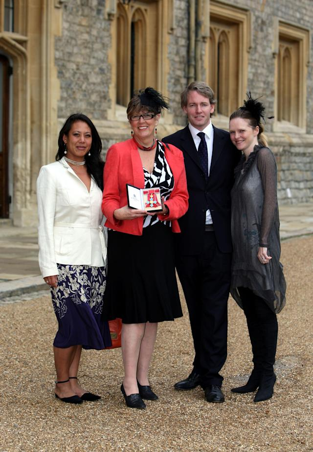 Prue Leith (2nd-L), with daughter Li-Da Kruger (L), her son Danny Kruger and his wife Emma pose after she became a Commander of the British Empire (CBE) by the Princess Royal during the investiture ceremony at Windsor Castle on October 5, 2010 in Windsor, England. (Photo by Steve Parsons - WPA Pool/Getty Images)