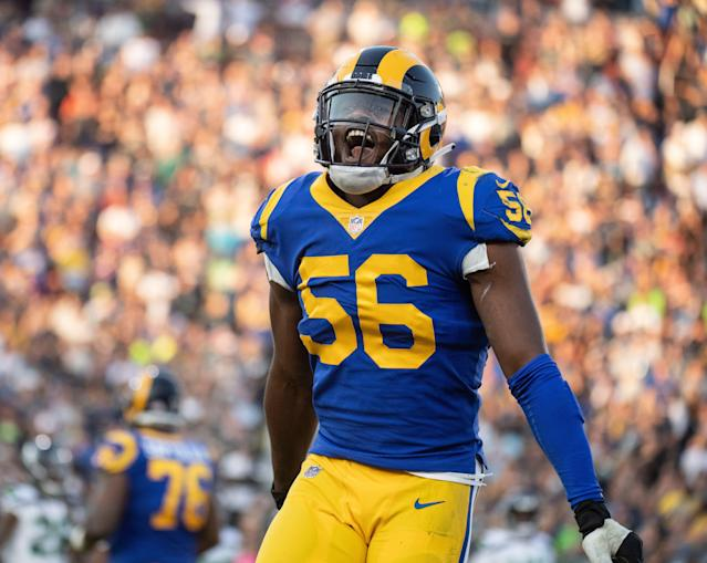 Rams defensive end Dante Fowler will reportedly return to L.A. rather than hit free agency. (AP Photo/Kyusung Gong)