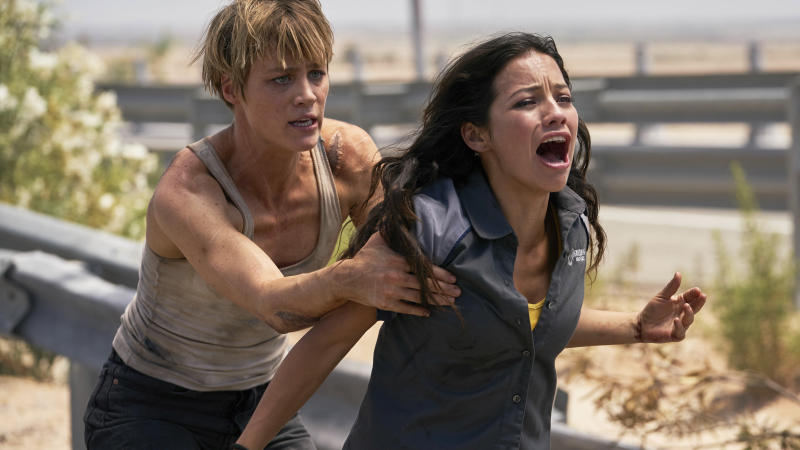 "This image released by Paramount Pictures shows Natalia Reyes, right, and Mackenzie Davis in ""Terminator: Dark Fate."" (Kerry Brown/Paramount Pictures via AP)"