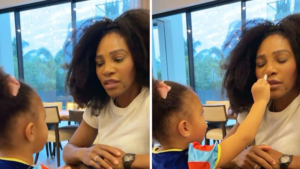 Serena Williams playing with her daughter as Olympia offers her a fake Covid-19 test.